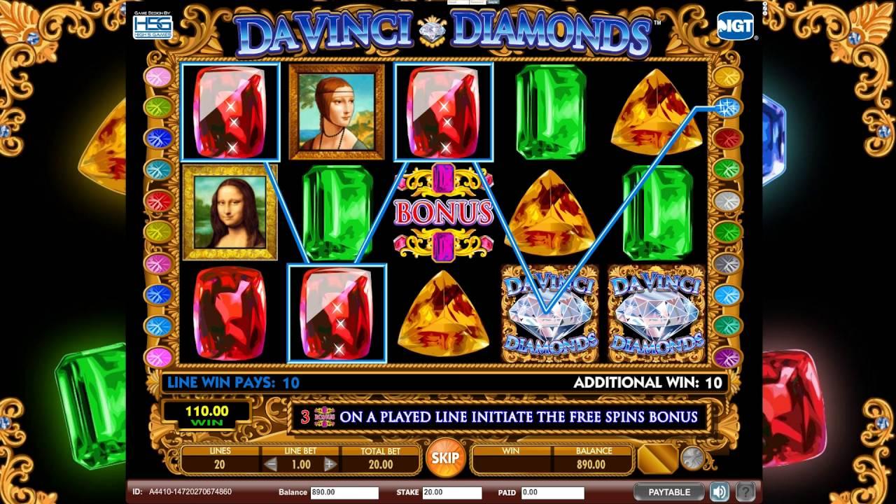 Da Vinci Diamonds Slot Gameplay Screenshot