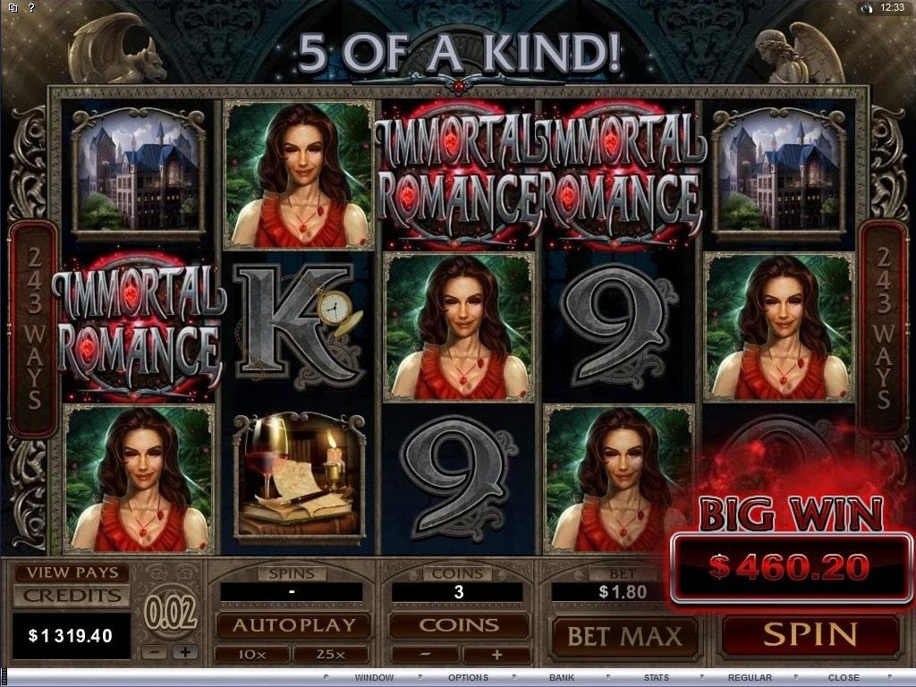 immortal romance slot 5 of a kind win
